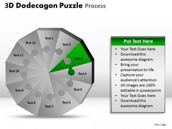 PowerPoint Template Graphic Dodecagon Puzzle Process Ppt Slides