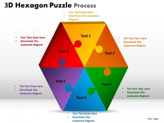 Powerpoint template graphic hexagon puzzle process ppt slides toneelgroepblik Image collections
