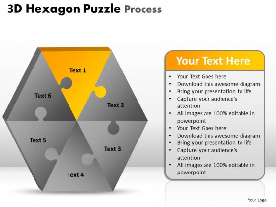 PowerPoint Template Graphic Hexagon Puzzle Process Ppt Slides