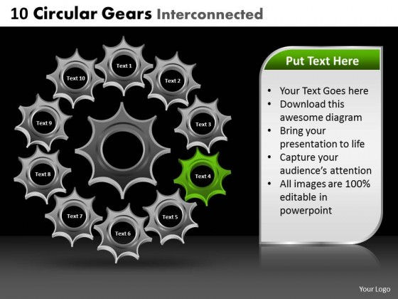 PowerPoint Template Leadership Circular Gears Ppt Slides