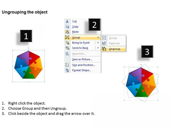 PowerPoint Template Leadership Heptagon Puzzle Process Ppt Slides