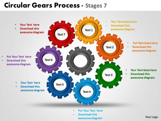 powerpoint template marketing circular gears process ppt slides, Modern powerpoint
