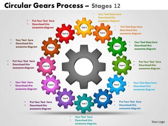 Powerpoint Template Process Circular Gears Process Ppt Slides