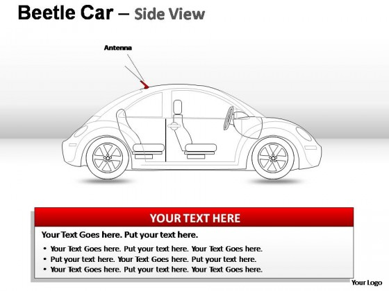 Red Beetle Car Side View PowerPoint Presentation Slides