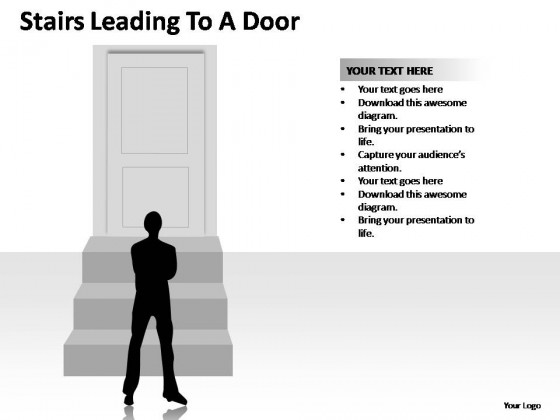 Stairs Leading To A Door PowerPoint Presentation Slides