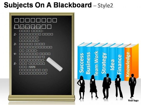 Subjects On A Blackboard Style 2 PowerPoint Presentation Slides