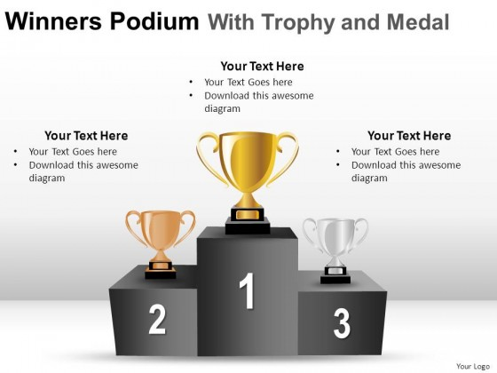 Winners Podium With Trophy Powerpoint Presentation Slides 2