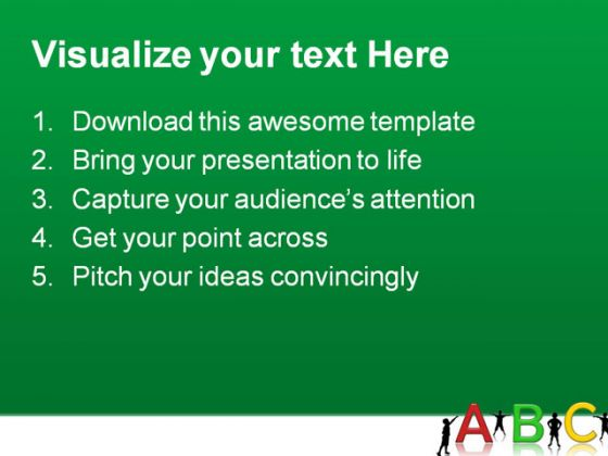 Alphabets02 Education PowerPoint Template 1010