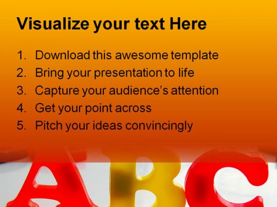 Alphabets Education PowerPoint Template 0810