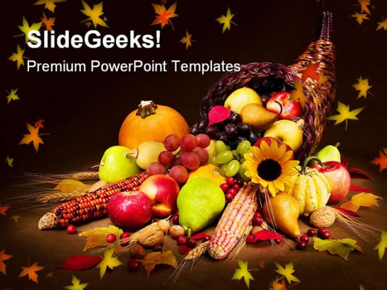 Autumn Cornucopia Nature PowerPoint Template 1010