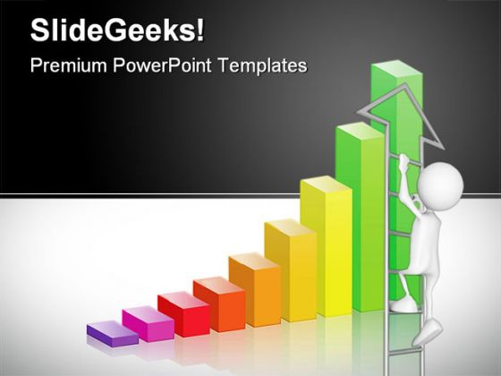 bar graph ladder business powerpoint background and template 1210, Modern powerpoint