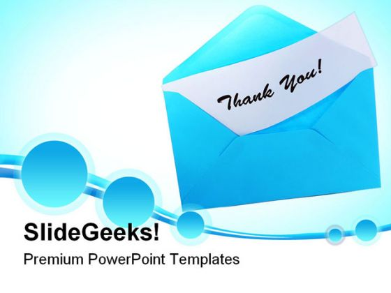 Blue Envelope With Thank You Festival PowerPoint Backgrounds And Templates 1210