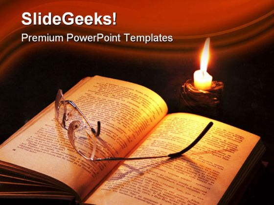 Book And Candle Religion PowerPoint Template 1110
