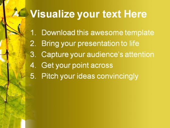 Branch Of Maple Nature PowerPoint Template 1010