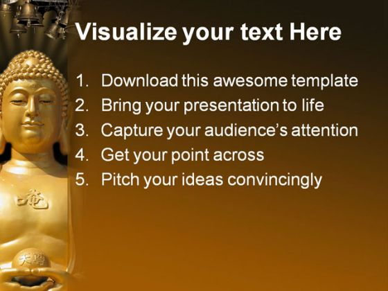 Buddha Religion PowerPoint Template 0610