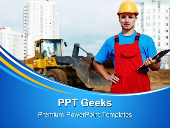 Builder Inspector Construction PowerPoint Templates And PowerPoint Backgrounds 0411