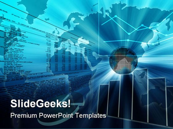 Business Chart Globe PowerPoint Template 1010