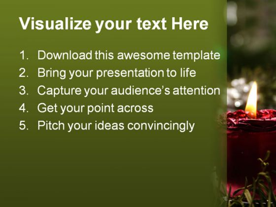 Candles Christmas PowerPoint Template 0610