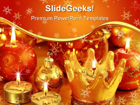 Candles Lights Christmas PowerPoint Template 0610