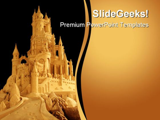 Castle Beach PowerPoint Template 0610