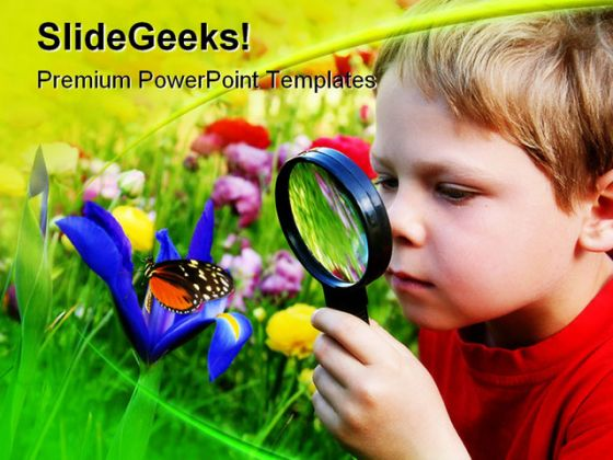 Child Observing Nature PowerPoint Template 1110