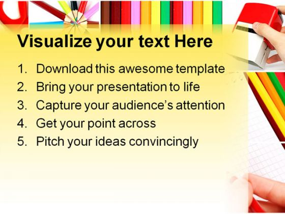 Color Pencil Collage Education PowerPoint Template 0810