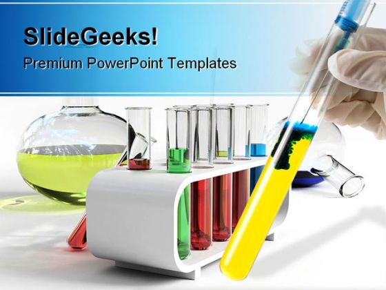 colorful flasks science powerpoint template 0610, Presentation templates