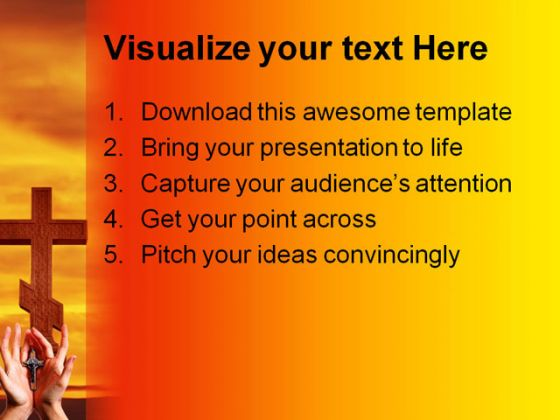 Cross Hands Religion PowerPoint Template 0610