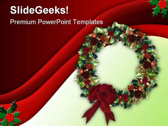 Decorated Wreath Christmas Powerpoint Template 0610