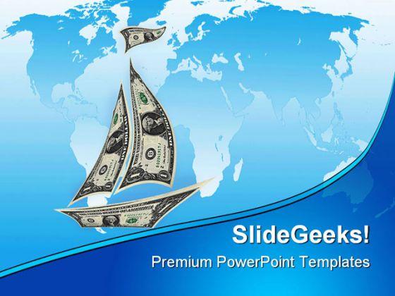 dollar ship money powerpoint template 1110