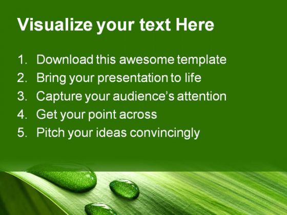 Drop And Leaf Nature PowerPoint Template 0910
