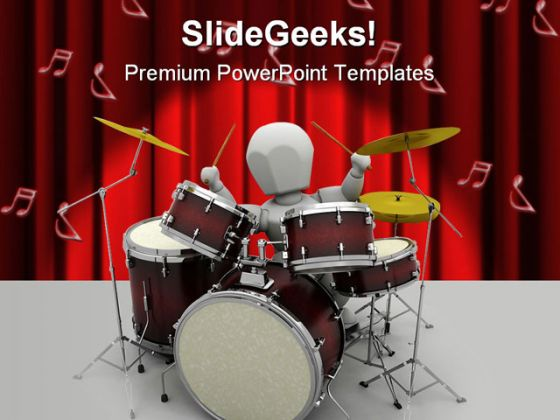 Drums Music PowerPoint Template 0610
