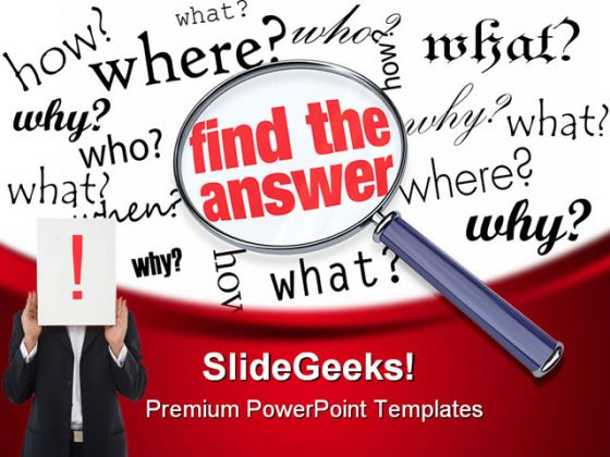 Find The Answer Business PowerPoint Template 0810