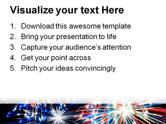 Fireworks America Festival PowerPoint Template 1010
