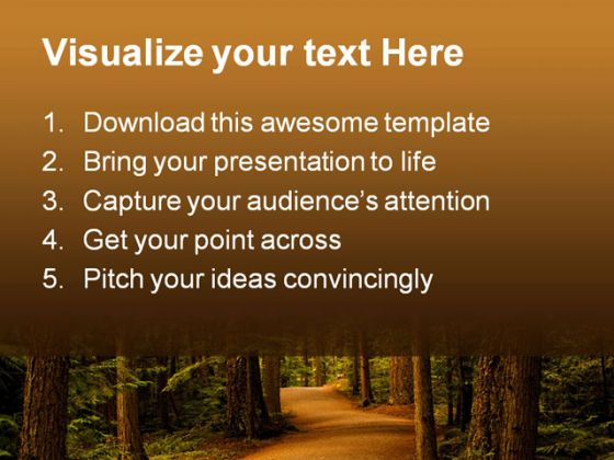 Forest Path Way Nature PowerPoint Template 0810