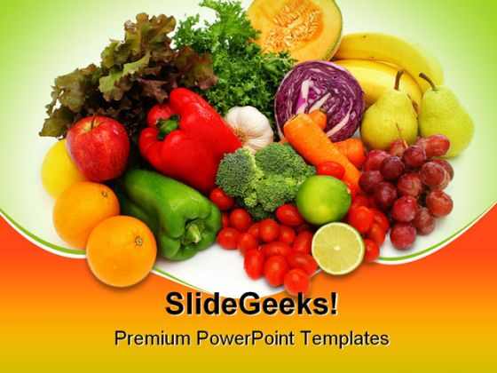 Fresh Vegetables Food Powerpoint Template 0810