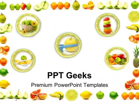 Fruit Border Food Powerpoint Templates And Powerpoint Backgrounds 0411
