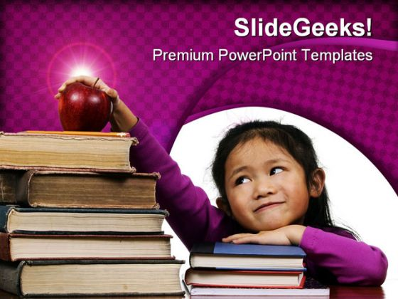 Girl With Old Books Education PowerPoint Backgrounds And Templates 1210
