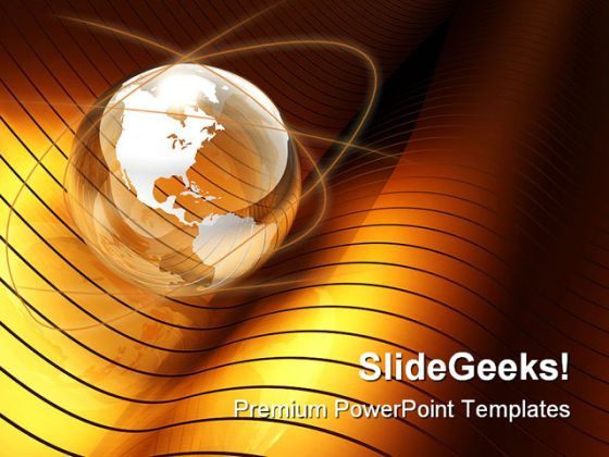 Globe gold wave earth powerpoint template 1110 toneelgroepblik Choice Image