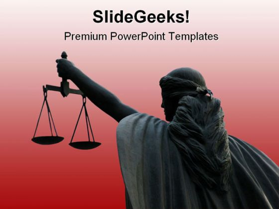 Goddess Of Justice On Maroon Law PowerPoint Template 1110