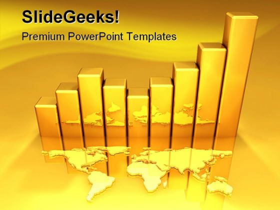 Gold chart business powerpoint template 0810 toneelgroepblik Image collections