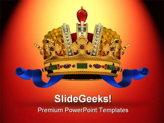 Golden Crown Leadership PowerPoint Backgrounds And Templates 1210
