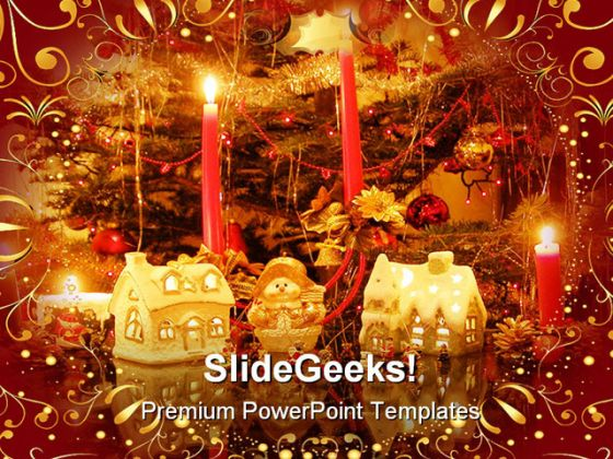 Golden Decorations Christmas Holidays PowerPoint Background And Template 1210
