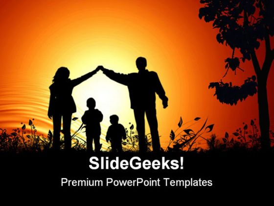 Golden sunset family powerpoint background and template 1210 toneelgroepblik