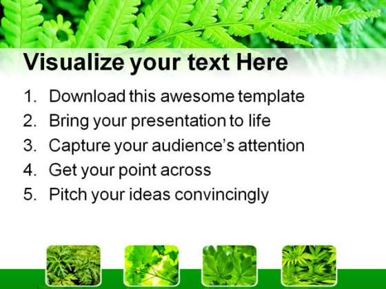 Green Fern Bushes Nature PowerPoint Templates And PowerPoint Backgrounds 0411