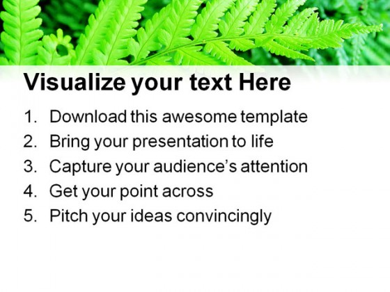 Green Fern Nature PowerPoint Templates And PowerPoint Backgrounds 0411