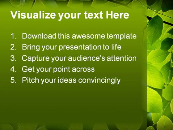 Green Leaves Nature PowerPoint Template 0910