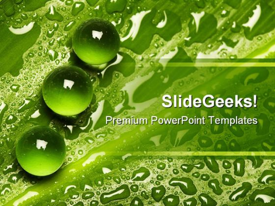 green pearl drops nature powerpoint background and template 1210, Powerpoint templates