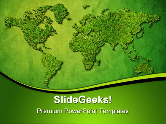 Green World Map Globe Powerpoint Template 1110