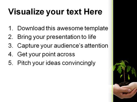Hands In Plant People PowerPoint Template 0810